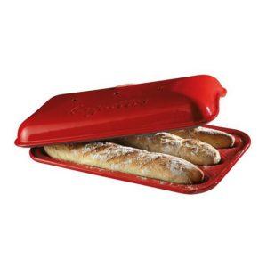 Forma na pečení 3 ks pařížských baget červená Burgundy E-balení - Emile Henry
