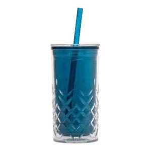 Plastový pohár s brčkem 470ml, petrolejový - Aladdin