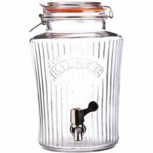 Skleněný nápojový automat s kohoutkem 5 l, fazetový design - Kilner