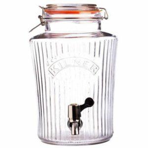 Skleněný nápojový automat s kohoutkem 8 l, fazetový design - Kilner