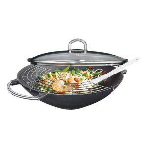 Litinová wok pánev se skleněnou poklicí 36 cm PREMIUM - Küchenprofi