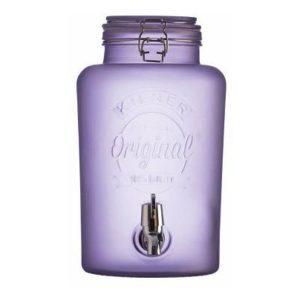 Skleněný nápojový automat s kohoutkem 5 l, mléčné fialové sklo - Kilner