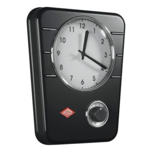 Kuchyňské hodiny s minutkou Classic, černé - Wesco