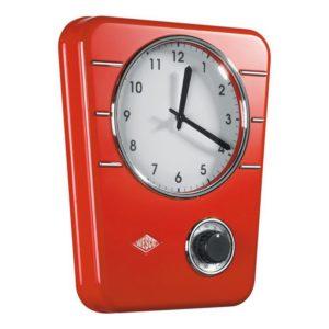 Kuchyňské hodiny s minutkou Classic, červené - Wesco