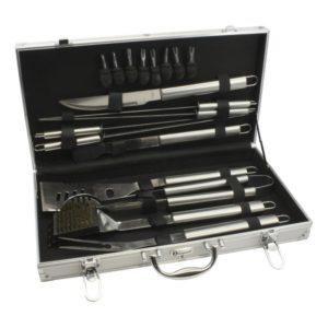 Grilovací nářadí v hliníkovém kufříku 18 dílů stříbrný - Leopold Vienna