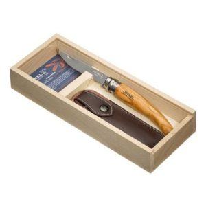 Dárkový set kapesní nůž 10 cm N°10 + pouzdro oliva SLIM - OPINEL