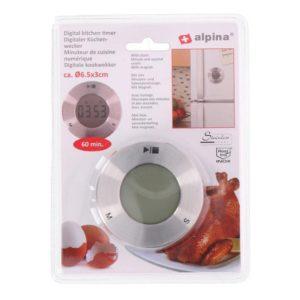 Digitální kuchyňská minutka s hodinami - ALPINA