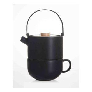 Čaj pro jednoho s bambusovým víkem 0,5l černá Umea - Bredemeijer
